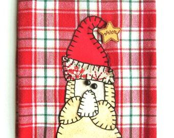Christmas Tea Towel, Christmas Santa Applique Kitchen Towel, Dish Towel, Hand Towel, Tea Towel, Christmas Decor, Santa Decor