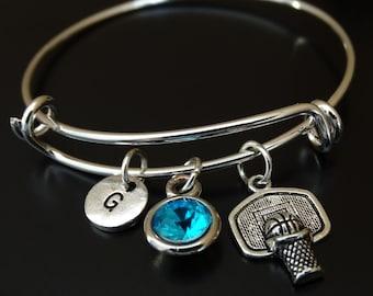 Basketball Bangle Bracelet, Adjustable Expandable Bangle Bracelet, Basketball Charm Bracelet, Basketball Mom, Basketball Jewelry,Sports Gift