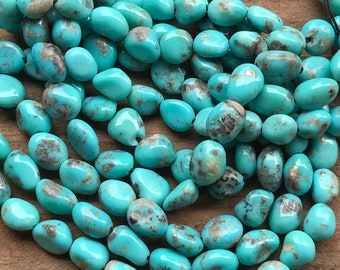 Campitos Mexican Turquoise semiprecious gemstone beads - 7 1/2 inch strand - 7mm X 8mm