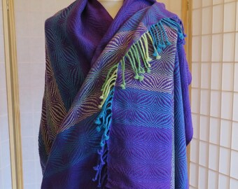 Made to Order Hand Woven Oversize Scarf, Purple Blanket Scarf, Purple Turquoise Green Wool Shawl, Oversize Wrap, Custom Shawl, Free Shipping