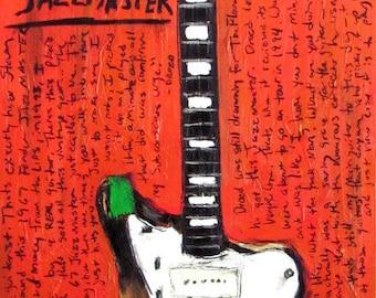 The Flaming Lips Art | Guitar Art. Steven Drozd 67 Fender Jazzmaster electric guitar art print