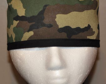 Men's Traditional Woodland Camo Scrub Cap/Hat - One Size Fits Most