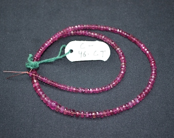 """Amazing Low Price-46 Cts 15"""" Strand 3-5mm Lusterous Color-Rubellite Tourmaline Faceted Rondelle Beads"""