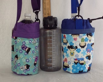 Insulated tote for refillable squat quart or liter size containers kokeshi dolls