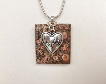 Mexican Flower Jasper Pendant with Heart Charm