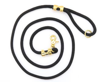 Onyx rope dog leash // Black marine rope lead // Strong dog leash // Unique pet leash with brass hardware // 4' or 6' length