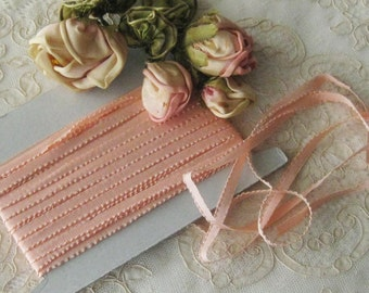 Vintage French Lettace Edge Ribbon in Peach - Ribbonwork, Sewing & Crafts - 100% Rayon