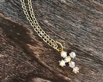 Dainty crystal  cross necklace