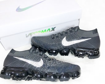 Black Nike Air VaporMax Flyknit Running Shoes with Swarovski Crystals - Custom Bling Nike Shoes - Swarovski Nikes - Womens Blinged Out Nikes
