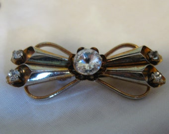 Vintage Bow Pin Brooch With Rhinestones, Rose-Gold Tone