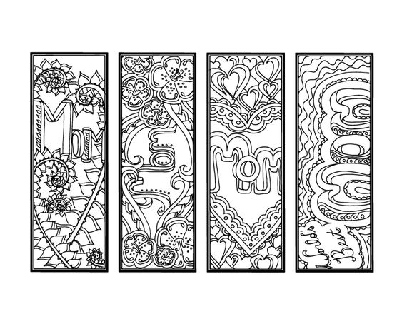 Diy mother 39 s day bookmarks printable coloring page adult for Mothers day adult coloring pages