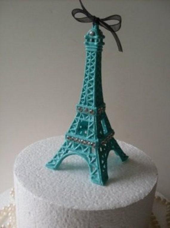 Paris Blue Eiffel Tower Cake Topper MEASURES 5 12 INCHES