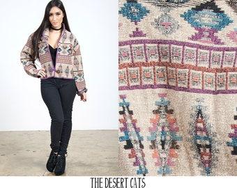 vintage 90s flash back blazer / jacket vintage aztec / navajo print jacket vintage boho southwestern print tapestry blazer