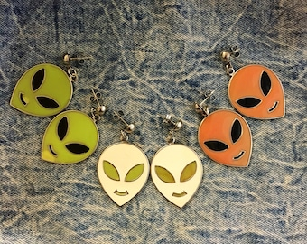 Vintage Alien Dangle Enamel Earrings // made in USA //  available in multiple colors