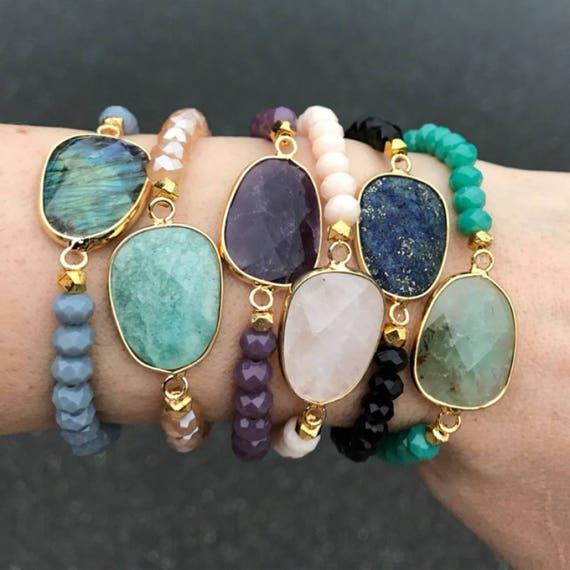 Gemstone Bracelets, Birthstone jewelry, lapis, Amethyst, jade, labradorite, rose Quartz, amazonite