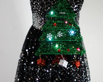 Ugly Christmas Sweater Sequined Dress Skirt Light Up LED Holiday