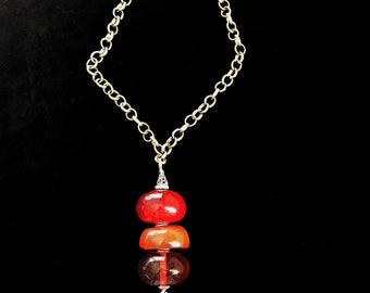 Handmade Necklace with Silver Details and Amber Beads from Ethiopia