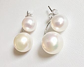 Two Pearl Twin Freshwater Cultured Pearl Earrings