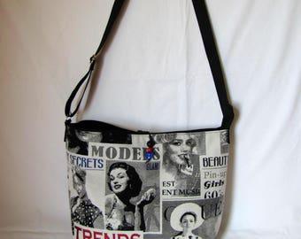 """Large handbag """"Pin-up"""" black and grey"""