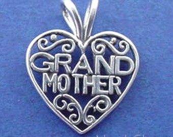 GRANDMOTHER HEART .925 Sterling Silver Charm Pendant - lp741