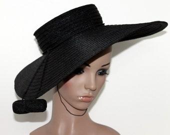 Vintage 1940s Hat // 40s Black Hat // Large Brim// Designer Saks Fifth Avenue // Tassels// 40s Wide Brim Hat