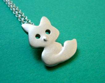 Fox Necklace in sterling silver Forest Animal rose gold Kid gift Teen forest jewelry gift girl mom gift  Teens Birthday gift