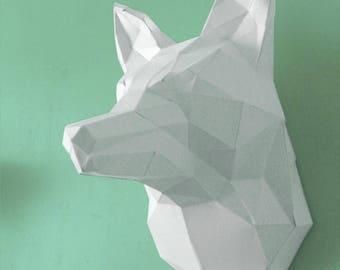 Trophy head of Fox paper to mount