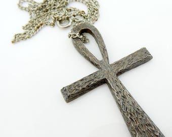 Cross Pendant Necklace Pewter Silvertone Vintage