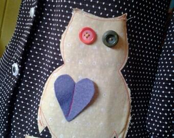 Super Vintage Brown Spotted POlka Dot Owl