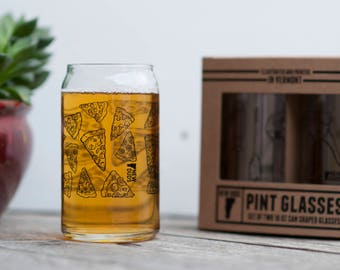 Pint Glass Set Pizza design