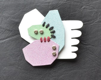white backed geometric brooch with unique forms powder coat in pastel with hand painted back and steel pin, scarf brooch, one of a kind