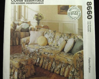 McCalls Home Sofa Chair Cover Patterns Uncut Sewing Foot Stool French Country Cottage Chic Farmhouse Decor