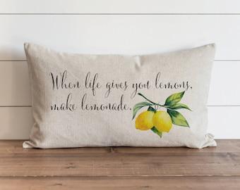 When Life Gives You Lemons Make Lemonade 16 x 26 Pillow Cover // Summer // Tropical // Fruit // Throw Pillow // Gift // Accent Pillow