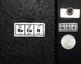 Bacon Periodic Table Pewter Lapel Pin and Magnet