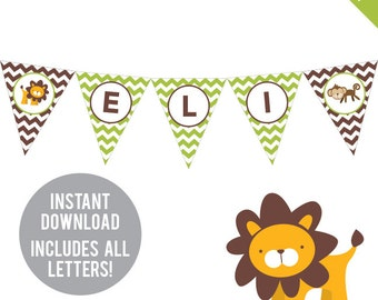 INSTANT DOWNLOAD Safari Party - DIY printable pennant banner - Includes all letters, plus ages 1-18