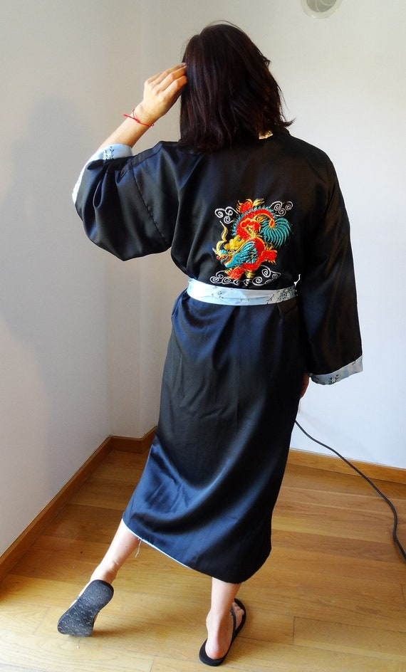reversible femme Kimono vintage size gown vintage vintage kimono satin kimono plus kimono size robe XL robe dressing femme deadstock robe vvpfqrw6