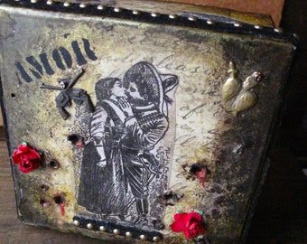 Love in the Time of Revolution, Walnut Stained, Mixed Media Box