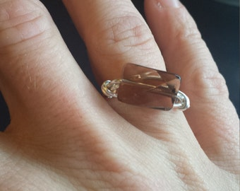 Silver Ring, Crystal Ring, Wire-wrapped jewelry