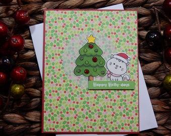 Christmas Greeting Card / Handmade / Blank Inside Greeting Card / Stamped Greeting Card / Holiday Greeting Card
