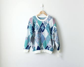 80s Floral Argyle Sweater - 80s Sweater Vintage Sweater 80s Clothing - Abstract Geometric Herbal Vines Plants 80s Pastels 80s - Women's L