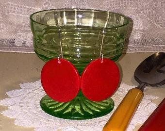 Vintage Cherry Red Bakelite Poker Chip Earrings