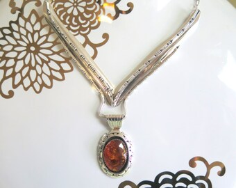 """J. Hoskie Sterling Silver and Amber """"Y"""" Necklace"""