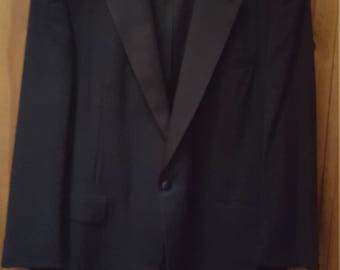 Vtg.Two Piece Black Formal Tuxedo Jacket And Pants