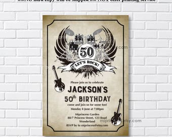 birthday invitation, Music birthday, rock and roll, birthday party, music party, music lover, party invitation, boy birthday - card 1134