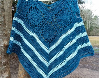 Blue Martine Crochet Poncho