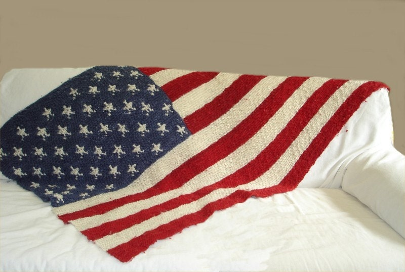 Blanket KNITTING PATTERN American Flag Blanket PDF knitting