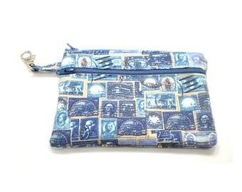 Larger Zippered Wallet Change Purse Gadget Case Blue Stamps 5445