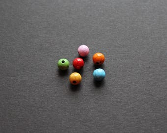 6 multi color acrylic beads 8mm Crackle effect
