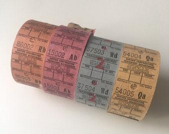 Vintage 40 bus tickets pieces