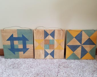 Wood quilt block wall hanging